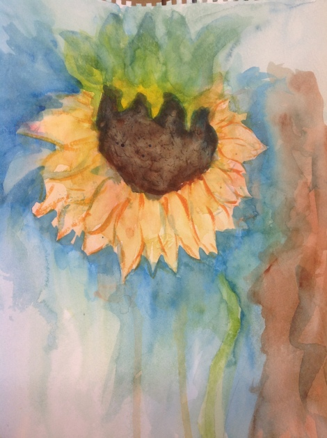 Ultra wet on wet watercolor following along  with a video on youtube