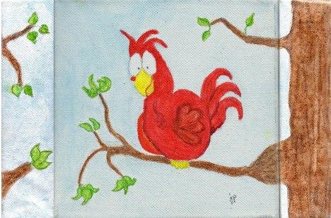 Bird on Canvas Using Inktense Watercolor Pencils