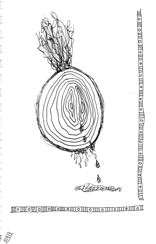 The Onion Weeps--sort of a Zentangle