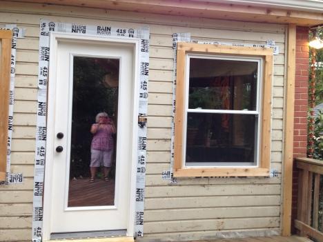 Flashing on original exterior, not on tyvek. Increases prep work.