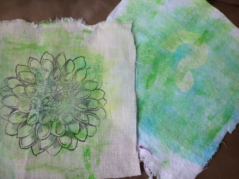 Acrylic paint with stencils on muslin and flannel
