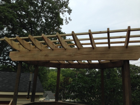 The rebuild of the arbor roof.